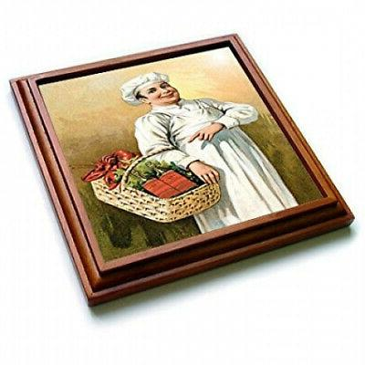 3dRose a Basket of Lobsters and Trivet Ceramic Tile, 8 by 8-inch